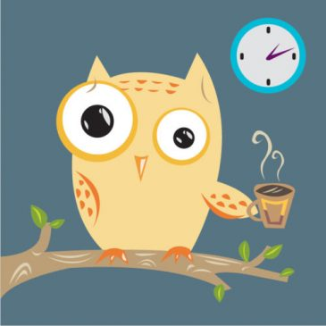 Owl holding a coffee