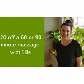 $20 off massages on Sundays and Mondays with Ellie