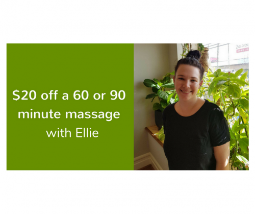 $20 off massages on Sundays and Mondays with Ellie